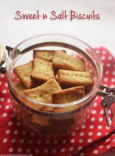 Bakery Style Sweet and Salt Biscuits Recipe - Sharmis Passions Eggless Recipes, Eggless Baking, Savoury Baking, Oven Recipes, Snack Recipes, Biscuit Bar, Biscuit Cookies, Cake Cookies, Sweets