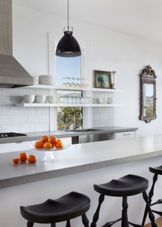 Vote for Mark Reilly Architecture for Best Kitchen Space in the Remodelista Considered Design Awards! Kitchen Tile, Kitchen Countertops, New Kitchen, Kitchen Dining, Gray Countertops, Kitchen Ideas, Countertop Options, Kitchen Floor, Kitchen Benches