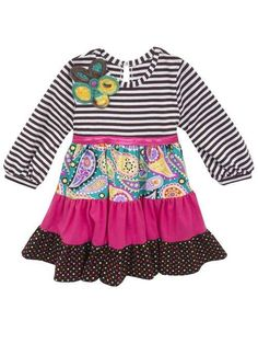 Girls Brown & White Striped Knit Dress **RTS**