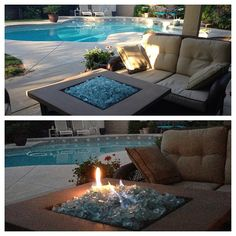 Having a fire pit w/ fire glass at an outdoor party would not only be aesthetically pleasing, but enjoyable for those who don't want to have their clothes smelling like campfire.  #designsponge #dssummerparty