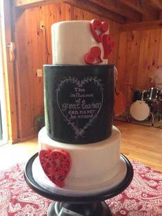 """Chalkboard & Quills Chalkboard & Quills Fondant covered cake with hand painted """"chalk"""" writing and fondant heart-shaped quill work #valentine #valentines-day #heart #cakecentral"""