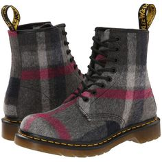 Dr. Martens Castel Women's Boots, Gray ($80) ❤ liked on Polyvore featuring shoes, boots, boot's, grey, long boots, gray shoes, dr martens shoes, tartan shoes and platform shoes