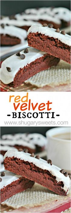 Red Velvet Biscotti with a sweet cream cheese glaze and mini chocolate chips. Perfect for dunking!