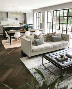 What a space, we love the dark herringbone floor paired with the natural li. What a space, we love the dark herringbone floor paired with the natural linen of our Haresfield sofa. Image via: Open Plan Kitchen Dining Living, Open Space Living, Open Plan Living, Living Room Kitchen, Home Living Room, Living Room Designs, Living Room Decor, Sofa In Kitchen, Open Plan House