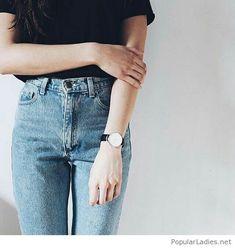 Black top and vintage jeans