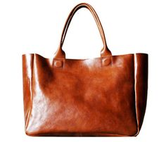 "really nice tote but too expensive... maybe I can make one out of an old leather coat? will try... I'll call it the ""coat tote"""