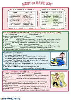 Must or Have to Interactive worksheet English Class, English Lessons, English Grammar, Learn English, Grammar Lessons, Grammar Worksheets, English Teaching Materials, Teaching English, Big Ban