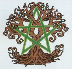 Earth Spirit Cross Stitch Pattern - Deep roots and gnarled branches entwine with a simple five-point star. Requiring only 6 colors, this multi-page pattern is a great choice for intermediate stitchers who are looking for something a bit more challenging. Design measures 187 stitches high by 186 stitches wide. This is a pattern for counted cross stitch. It is not a complete kit. You must provide your own fabric and floss.