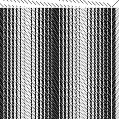 Alice Schlein explains how to make Ombré Stripes using a 7/1 satin, a 1/7 satin, and an advancing threading. This combination of threading and liftplan produces a gradual lengthwise shaded effect.     This draft needs 16 shafts, but the same idea could be used with a 3/1 and 1/3 twill on 8 shafts.