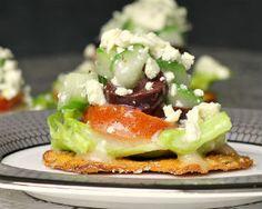 GREEK SALAD app:  Garlic Parmesan Pretzel Crisps Lettuce Tomato Cucumber Kalamata olives Feta Cheese Greek or Italian dressing