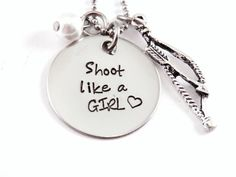 Shoot Like A Girl - Bow Hunting - Hand Stamped Stainless Steel Necklace - Gift for her - Hunting - Archery Hunting via Etsy