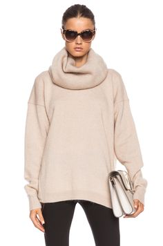 Acne Studios|Demi Mix Turtleneck Sweater in Beige