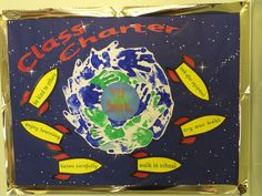 New Class Charter. Space themed, hand prints as 'signatures' class promises on rockets! Class Charter Ks1, Class Charter Display, Classroom Display Boards, Classroom Displays, Classroom Themes, Class Displays, School Displays, Primary Teaching, Teaching Tips