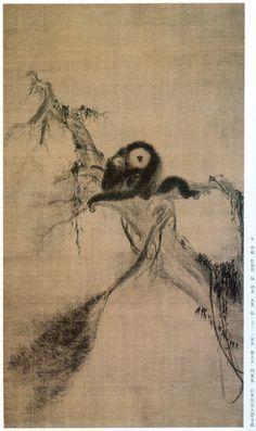 南宋 法 常 松猿图轴 东京大德寺