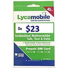 Lycamobile Usa 23 Plan Sim Cards Include 3 Month Plan Plus 3gb
