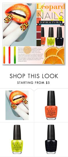 """""""Leopard Print Nails"""" by selena-gomezlover ❤ liked on Polyvore featuring Nail Rock, OPI, Tweezerman, nailart, Beauty, neon and trend"""
