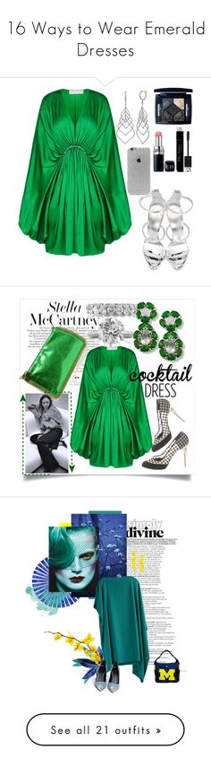 """""""16 Ways to Wear Emerald Dresses"""" by polyvore-editorial ❤ liked on Polyvore featuring waystowear, emeraldgreendress, STELLA McCARTNEY, Christian Dior, LA: Hearts, Giuseppe Zanotti, Mark Broumand, dresses, green and long bell sleeve dress"""