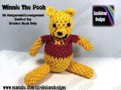 Rainbow Loom 3D Winnie The Pooh Amigurumi/Loomigurumi Bear - Hook Only (Loomless/Loom-less)