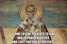 Catholic All Year, Catholic Memes, Catholic Saints, St Nicholas Day, Religious Humor, Punch In The Face, Turu, Christian Humor, Christen