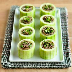 """""""vegan party dishes omnivores will enjoy, too"""" 15 recipes. Shown: Chilled Soba in Cucumber Cups Great Recipes, Vegan Recipes, Favorite Recipes, Appetizers For Party, Appetizer Recipes, Party Recipes, Cucumber Appetizers, Brunch Recipes, Snack Recipes"""