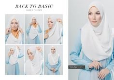 There are many tutorial images showing how to wear a white hijab, making it easier for Muslim girls . Abaya Fashion, Muslim Fashion, Modest Fashion, Fashion Outfits, Pashmina Hijab Tutorial, Hijab Style Tutorial, Hijab Wear, Hijab Outfit, Simple Hijab