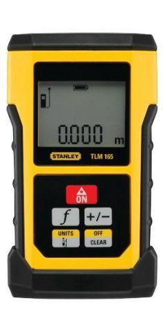 Stanley TLM 165 50m - Medición directa de distancias, cálculo de superfícies, cálculo de volúmenes, función de Pitágoras, función calculadora (adición y sustracción) y tracking (medición continua). Apoyo deplegable para mediciónes precisas. 5 memorias y pantalla retroiluminada de 2 líneas. Incluye bolsa de transporte y 2 pilas AAA.