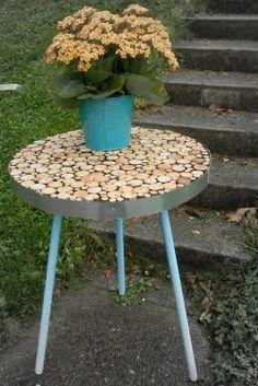 wood mosaic table