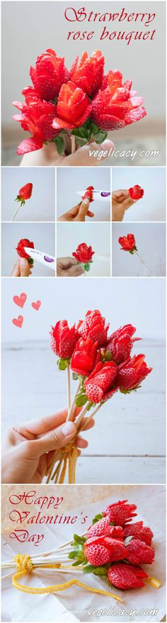Beautiful idea for Valentine's day: How to make strawberry rose bouquet