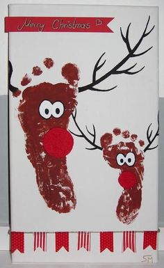 Reindeer picture footprint reendier foodprint print DIY self stretcher acrylic color . Reindeer picture footprint Reendier Foodprint print DIY self-made stretcher acrylic paint make tuto Christmas Crafts For Gifts, Christmas Cards To Make, Kids Christmas, Christmas Presents, Last Minute Christmas Gifts Diy, Reindeer Christmas, Merry Christmas, Christmas Decorations, Christmas Ornaments