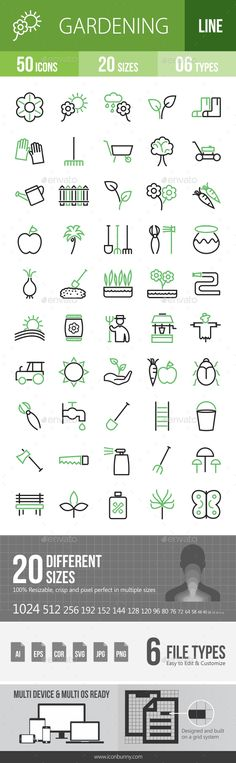 50 #Gardening #Green & #Black Line Icons - Icons