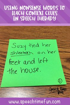 Using blanks or Nonsense Words to Teach Context Clues in Speech Therapy - help your older students build vocabulary and have compensatory strategies so they can be successful in a fun and low prep way. Vocabulary Activities, Speech Therapy Activities, Language Activities, Vocabulary Strategies, Spelling Activities, Comprehension Strategies, Reading Comprehension, Speech Language Pathology, Speech And Language