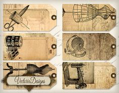 Vintage Sewing Tags shabby printable gift tags printable hobby