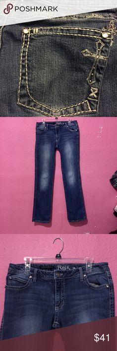 Wrangler Cowboy Jeans  Rock Wrangler Rock Wrangler bling flair leg blue jeans Wrangler Jeans