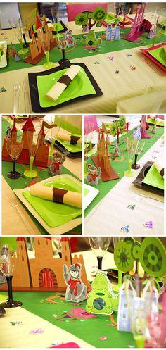 Décoration de table d'anniversaire chevalier. Une décoration de table pour un anniversaire garçon ou avec la table princesse.