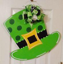 Handpainted Wood Door Hanger St Patrick's Day Irish Shamrock or Leprechaun Hat