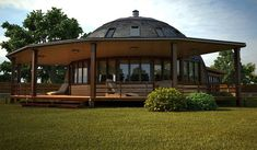 Pictures and ideas of Domes built using the geodesic dome plans Dream Home Design, House Design, Quonset Hut Homes, Geodesic Dome Homes, Contemporary House Plans, Dome House, Unique Buildings, Round House, Earthship