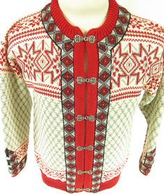Vintage white and red real pewter clasp Dale of Norway sweater. True classy winter wear. Find more men's and women's authentic vintage clothing at The Clothing Vault.