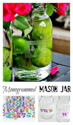 Easy DIY project....etched monogrammed mason jars.  Perfect for a wedding centerpiece or shower decorations Step-by-step instructions on the blog www.thistlewoodfarms.com