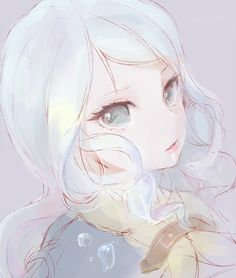 ✮ ANIME ART ✮ anime. . .pastel. . .blue hair. . .eyes. . .pretty girl. . .beautiful. . .cute. . .kawaii