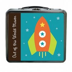 Rocket Boy Personalized Lunch Box. For more creative ideas for kids lunches LIKE US on Facebook @ https://www.facebook.com/SchoolLunchIdeas