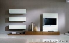 Link Box combination with Rack TV unit Walnut Dark and white laquered  cm 390, h 200, p 61