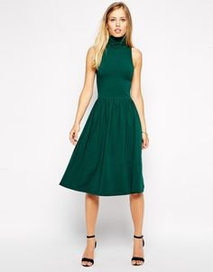 Shop ASOS Midi Skater Dress with Polo Neck. With a variety of delivery, payment and return options available, shopping with ASOS is easy and secure. Shop with ASOS today. Asos Party Dresses, Latest Fashion Clothes, Fashion Outfits, Fashion Online, Dress Outfits, Dress Up, Midi Skater Dress, Robes Midi, Frack