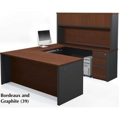 Bestar Prestige Plus U Shaped Workstation w/Assembled Pedestals