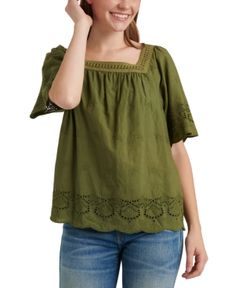 $59.5. LUCKY BRAND Top Cotton Lace-Trim Square-Neck Top #luckybrand #top #cotton #clothing Lace Inset, Lace Trim, Peasant Tops, Tunic Tops, Square Neck Top, Floral Print Shirt, Lucky Brand Tops, Cotton Lace, Clothes For Women
