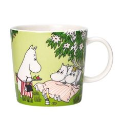 """Arabia's Relaxing mug is part of the seasonal Moomin set for summer Based on a comic book from called """"Moomin Valley Turns Jungle"""", the mug's illustration features the Moomin family all set for a night of camping out in the garden. Moomin Shop, Moomin Mugs, Summer Set, Summer Days, Moomin Valley, Tove Jansson, Ceramic Tableware, Source Of Inspiration, Goods And Services"""