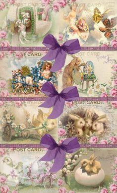 INSTANT DOWNLOAD  Vintage EASTER Postcard Design  No:28  Printable Digital Download Clip Art Backgrounds Gift Tags Scrapbooking Card Making