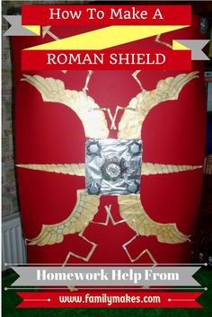 How To Make A Roman Shield - step by step with video instruction. Child-friendly help with your homework from Family Makes Craft Activities For Kids, Preschool Crafts, Craft Ideas, Educational Activities, Kids Crafts, Roman Shield, Soldier Costume, Korat, Kids Homework