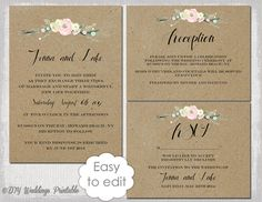 "Rustic Wedding invitation templates DIY ""Rustic Flowers"" printable wedding invitation template suite kraft / white Editable digital download"