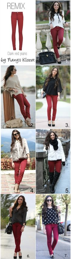 7 ways to wear dark red jeans! - reaaally want a pair of these! wish it wasn't such a difficult process to find the right length pants...
