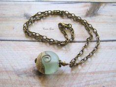 Ocean Wave Aqua Lampwork Necklace, Beach Jewelry